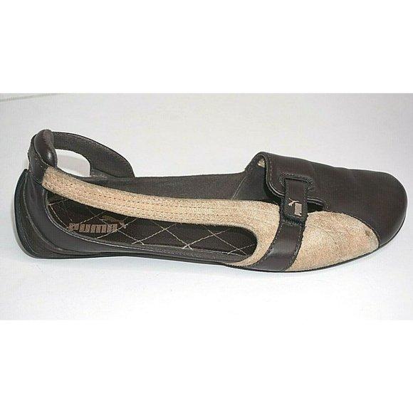 Puma 9 Brown Tan Leather Suede Shoes hook Loop